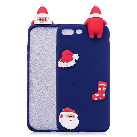 Christmas Hat Tree Santa Claus Reindeer 3D Cartoon Animals Soft Silicone TPU Case for iPhone 7 Plus / 8 Plus - BLUE