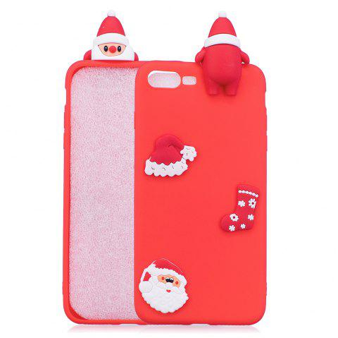 Christmas Hat Tree Santa Claus Reindeer 3D Cartoon Animals Soft Silicone TPU Case for iPhone 7 Plus / 8 Plus - RED