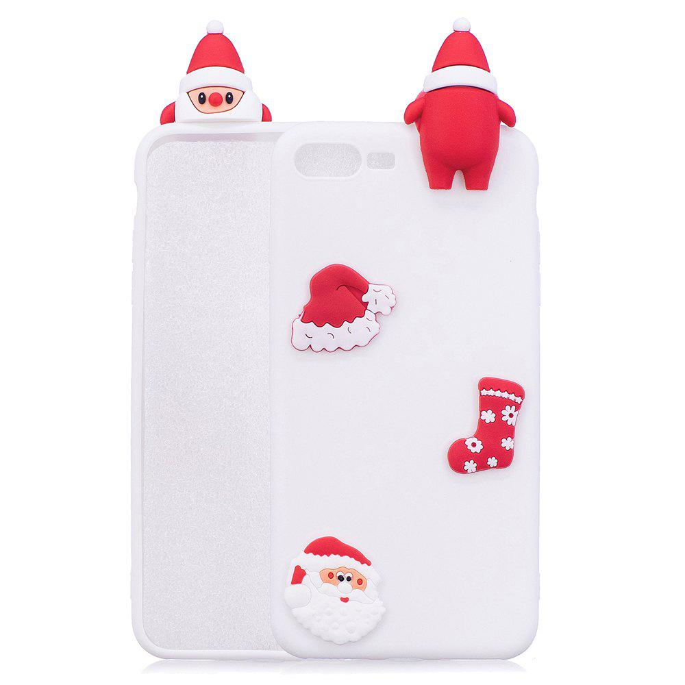 Christmas Hat Tree Santa Claus Reindeer 3D Cartoon Animals Soft Silicone TPU Case for iPhone 7 Plus / 8 Plus - WHITE