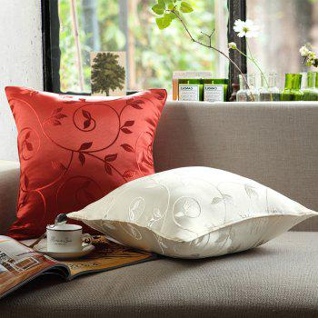 European Style Simple Style Lobular Flower Jacquard Pillowcase - WHITE WHITE