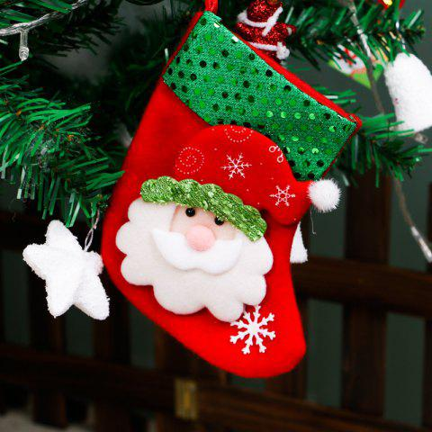 Christmas Tree Decoration Small Sequins Children Gift Candy Bag Socks - COLORMIX SANTA CLAUS STYLE