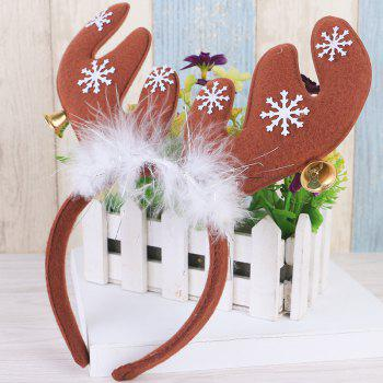 Cute Christmas Bells Headband Antlers Head Hoop Holiday Decoration - BROWN