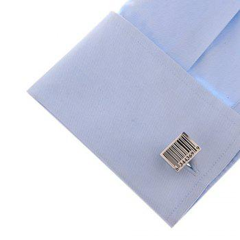 Men's Solid Color Bar Code Processing Style Personalized Cufflinks -  BLACK / SILVER