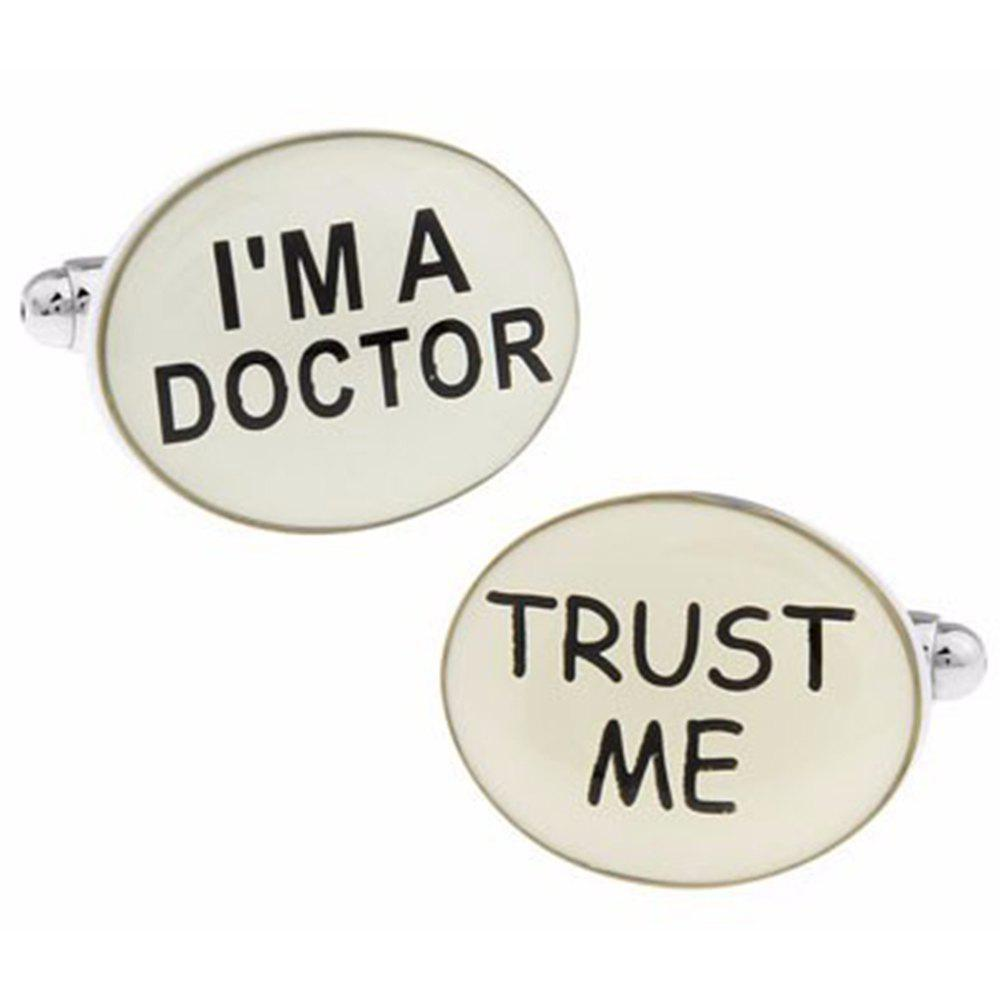 Men's 2pcs Letter Pattern i'M Doctor Cuff Buttons Accessory - BLACK WHITE