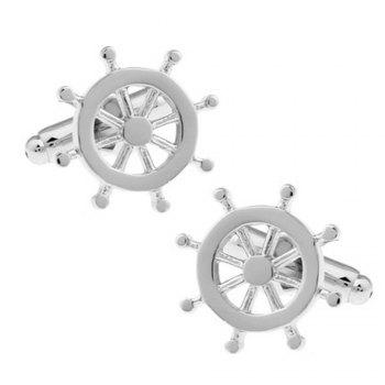 Men's 2pcs Stylish Solid Color Rudder Chic Cufflinks Accessory - SILVER SILVER