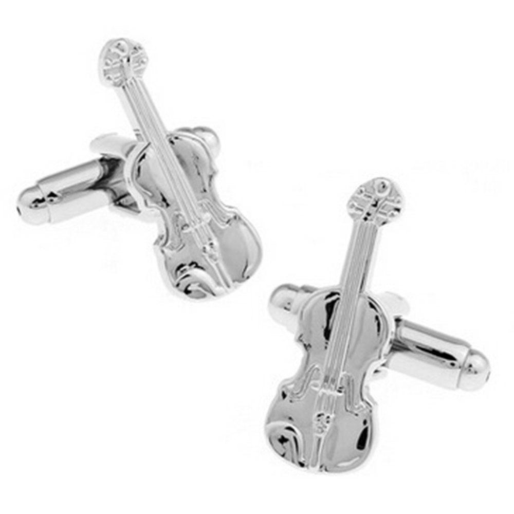 Men's 2pcs Solid Color Music Series Cello Stylish Cuff Buttons - SILVER