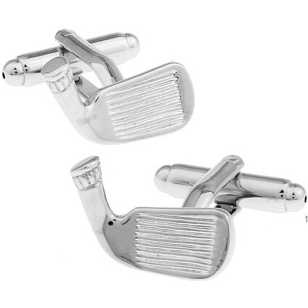 Men's Sports Series Golf Brassie Pattern Caving Cuff Link - SILVER
