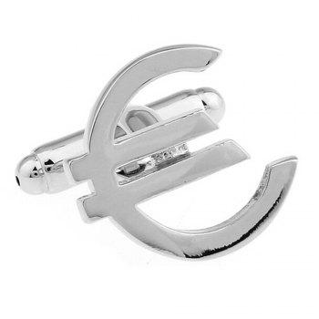 Men's 2pcs Plain Coloured Metal Series Silver Euro Cufflinks Accessory - SILVER