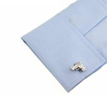 Men's Military Series Silver Pistol Cuff Links -  SILVER