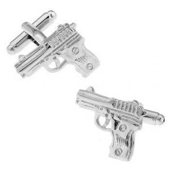 Men's Military Series Silver Pistol Cuff Links - SILVER SILVER