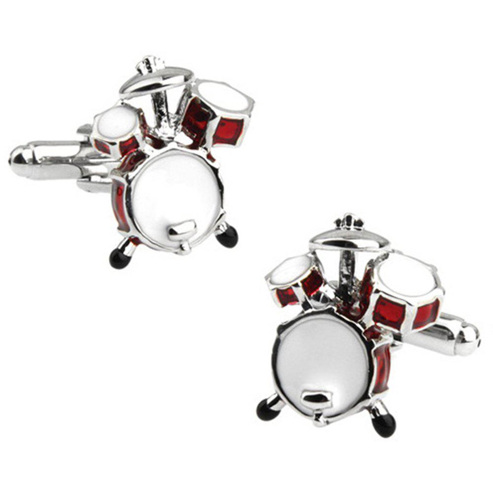 Men's Stylish Design Creative Music Drum Shape Sleeve Button Accessory - RED