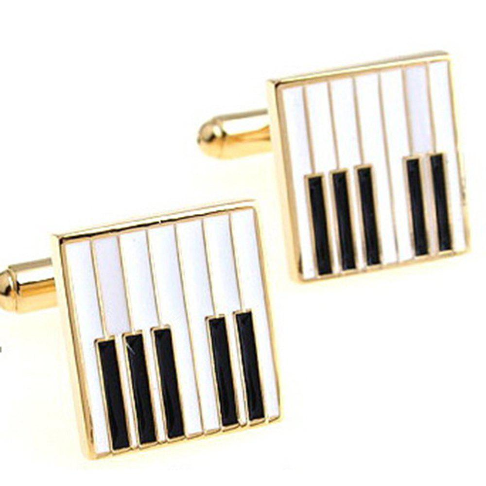 Men's Square Style Creative Music Symbol Piano Key Cufflinks Accessory - 金色