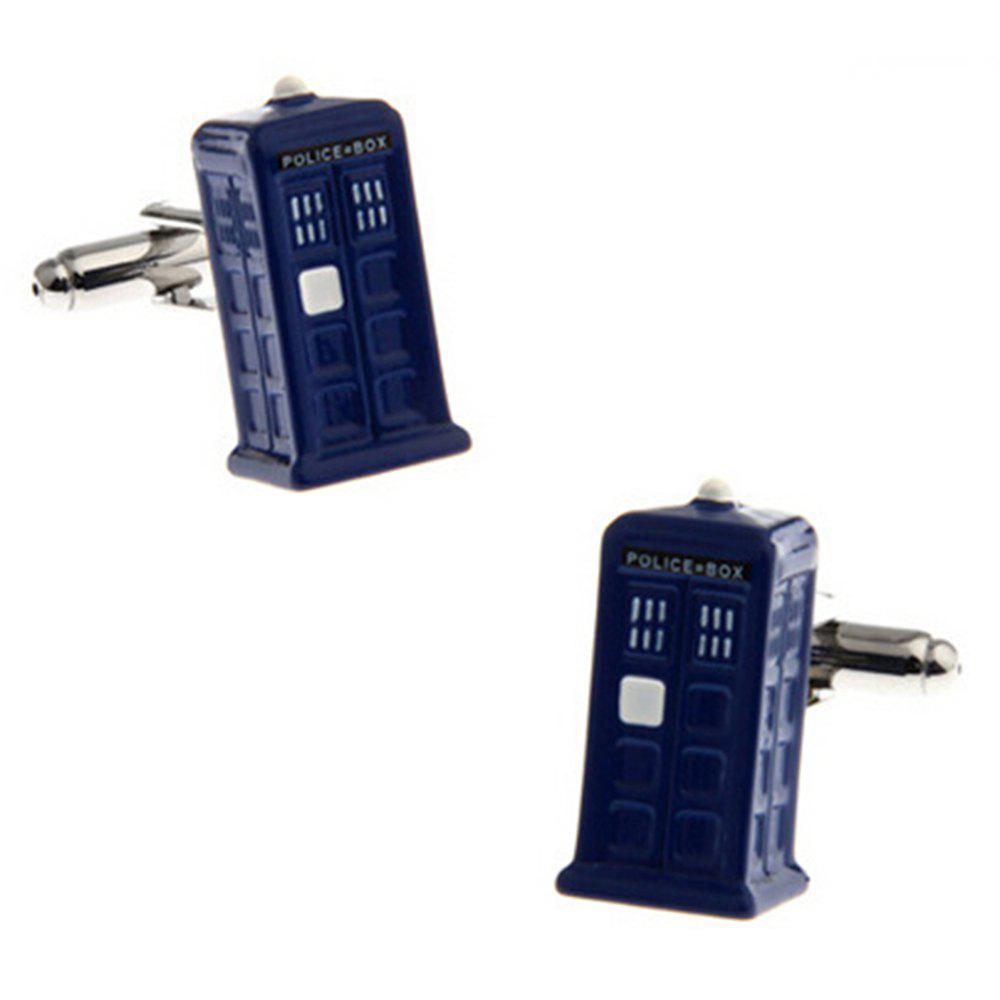 Men's Blue Police Box Brass Cuff Links Charm Chic Cuff Buttons - BLUE