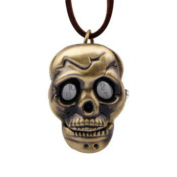 Vintage Neutral Bronze Alloy Skull Pocket Watch