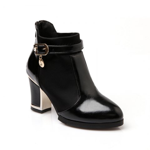 Women's Chunky Heel Fashion Round Toe Boots - BLACK 35