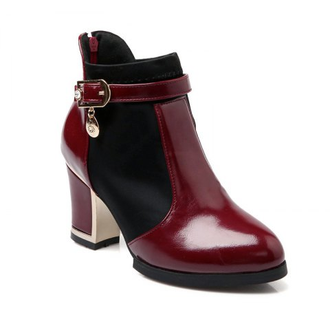 Women's Chunky Heel Fashion Round Toe Boots - RED 41
