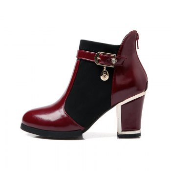 Women's Chunky Heel Fashion Round Toe Boots - RED 37