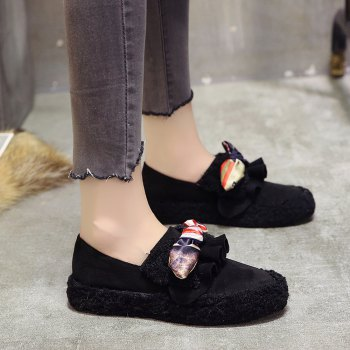Women Autumn Winter Shoe Casual Soft Single Roman Shoes - BLACK 37