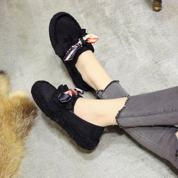 Women Autumn Winter Shoe Casual Soft Single Roman Shoes - BLACK 35