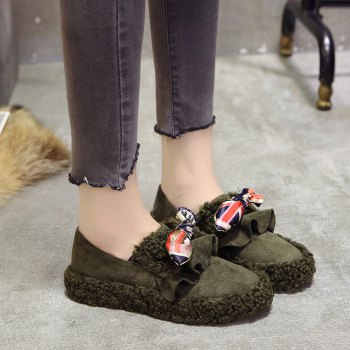 Women Autumn Winter Shoe Casual Soft Single Roman Shoes - GREEN 39