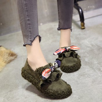 Women Autumn Winter Shoe Casual Soft Single Roman Shoes - GREEN 36
