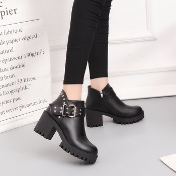 YYO11 Women Fashion PU Casual Ankle Boots Waterproof Sexy High Heel Martin Boot with Zipper - BLACK 38
