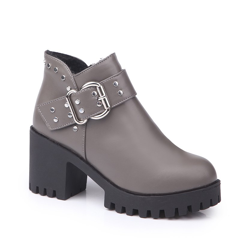 YYO11 Women Fashion PU Casual Ankle Boots Waterproof Sexy High Heel Martin Boot with Zipper - GRAY 37
