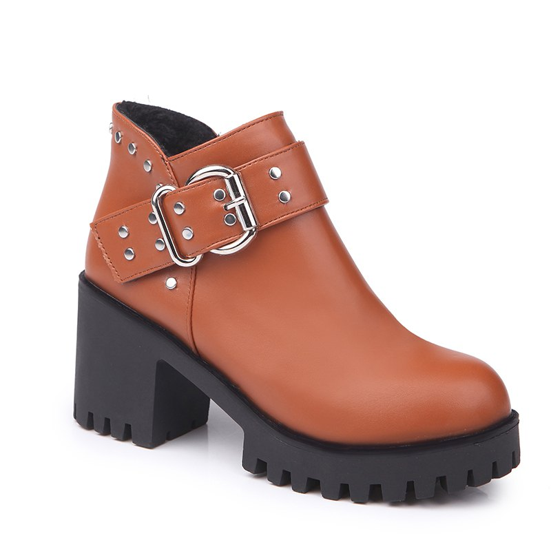 YYO11 Women Fashion PU Casual Ankle Boots Waterproof Sexy High Heel Martin Boot with Zipper - JACINTH 38