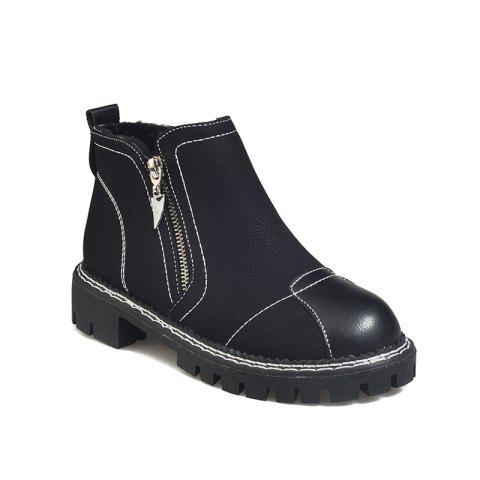 YYO12 Women PU Ankle Martin Boots Fashion Casual Low Heel Waterproof Shoes with Zipper - BLACK 40