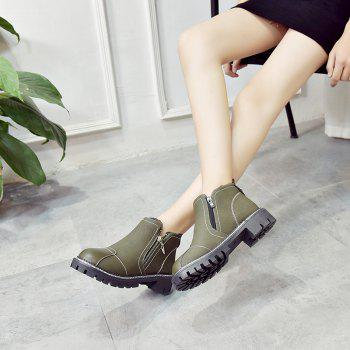 YYO12 Women PU Ankle Martin Boots Fashion Casual Low Heel Waterproof Shoes with Zipper - GREEN 39
