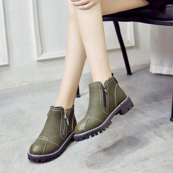YYO12 Women PU Ankle Martin Boots Fashion Casual Low Heel Waterproof Shoes with Zipper - GREEN 40