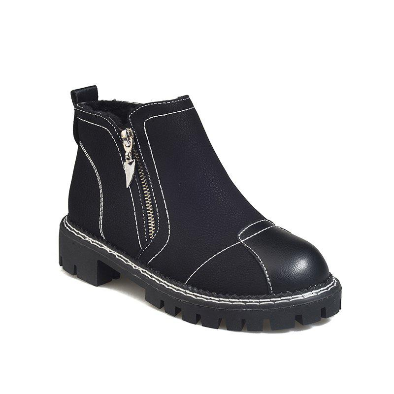 YYO12 Women PU Ankle Martin Boots Fashion Casual Low Heel Waterproof Shoes with Zipper - BLACK 37