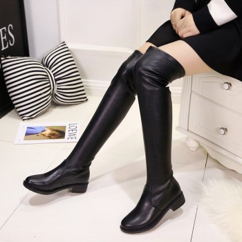 YYO13 Women Fashion Sexy Over Knee PU Boots Low Heel Waterpoof Simple Style - BLACK 36