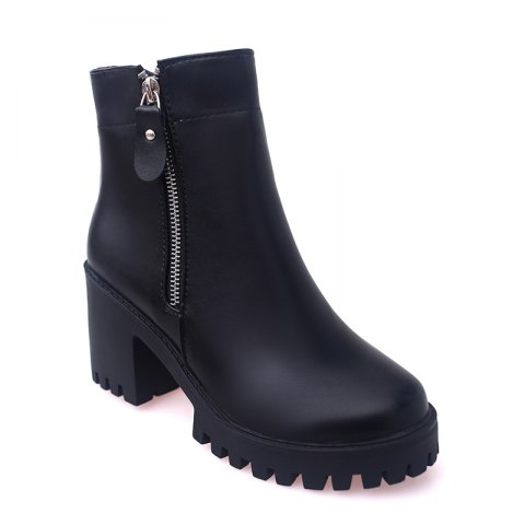 YYO14 Women Fashion Ankle PU Boots Waterproof Block Thick High Heel with Zipper Shoes - BLACK 35