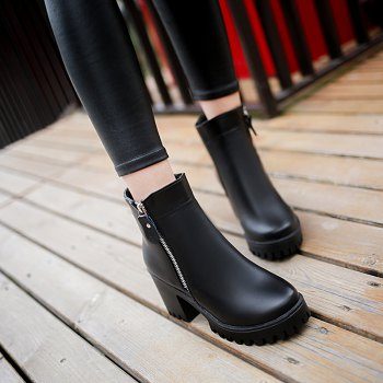 YYO14 Women Fashion Ankle PU Martin Boots Waterproof Block Thick High Heel with Zipper Shoes - BLACK 35