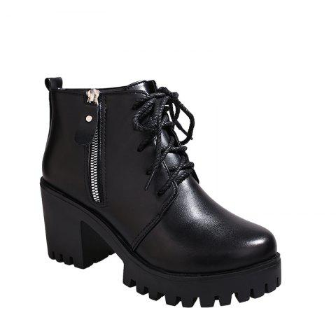 YYO15 Women Fashion Ankle PU Martin Boots Waterproof Block Thick High Heel with Zipper Shoes - BLACK 35