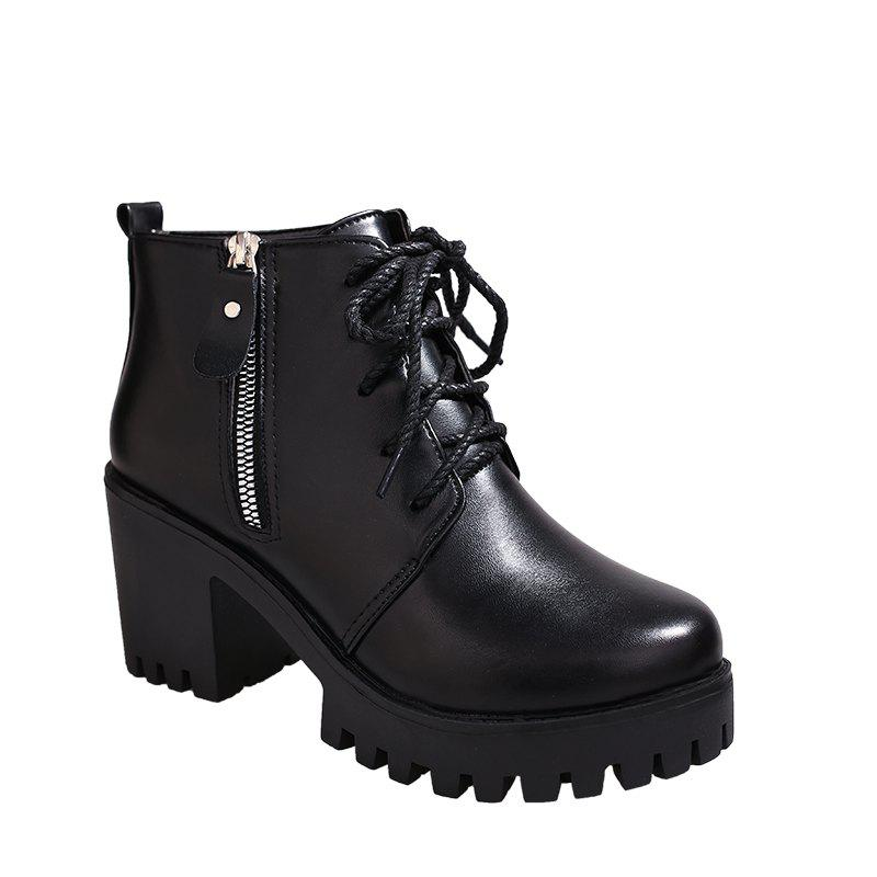 YYO15 Women Fashion Ankle PU Martin Boots Waterproof Block Thick High Heel with Zipper Shoes