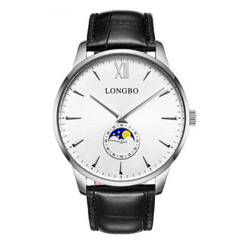 Longbo 5008 Leisure Round Dial Leather Band Couple Watch - WHITE MALE