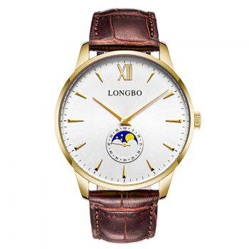 Longbo 5008 Leisure Round Dial Leather Band Couple Watch - GOLDEN GOLDEN