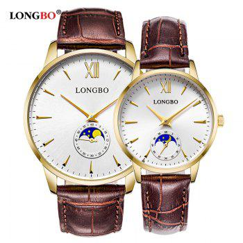 Longbo 5008 Leisure Round Dial Leather Band Couple Watch - GOLDEN FEMALE