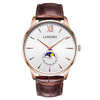 Longbo 5008 Leisure Round Dial Leather Band Couple Watch - ROSE GOLD ROSE GOLD