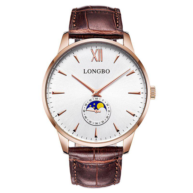 Longbo 5008 Leisure Round Dial Leather Band Couple Watch - ROSE GOLD MALE