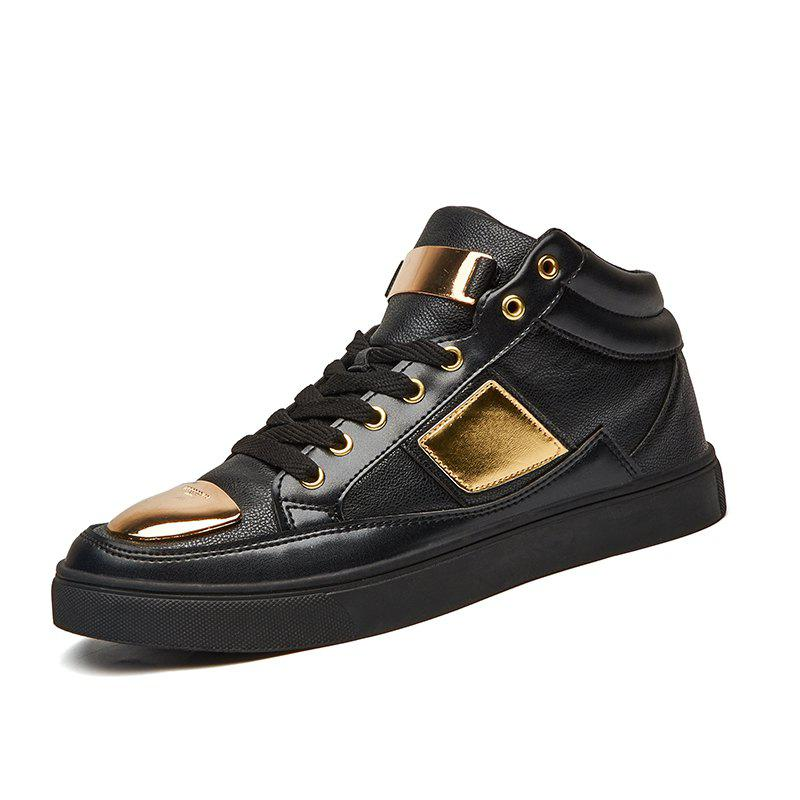 Men Casual Trend of Fashion Outdoor Lace Up Leather Flat Ankle Boots - BLACK 40