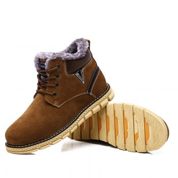Big Size Men Winter Outdoor Casual Shoes Plush Lace Up Flats Men Snow Boots Oxford Warm Sneakers - BROWN 38