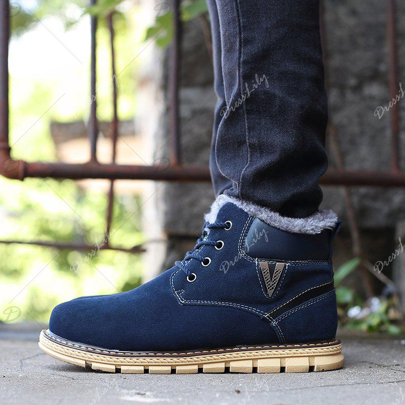 Big Size Men Winter Outdoor Casual Shoes Plush Lace Up Flats Men Snow Boots Oxford Warm Sneakers - BLUE 38