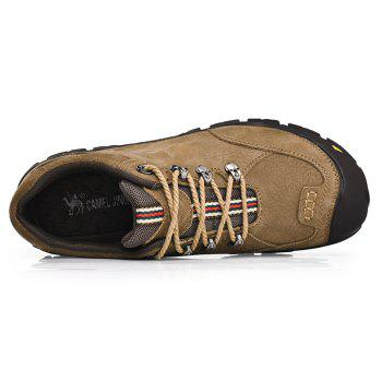 Men Winter Outdoor Casual Shoes Plush Lace Up Flats Men Snow Boots Oxford Warm Sneakers - KAHKI 38