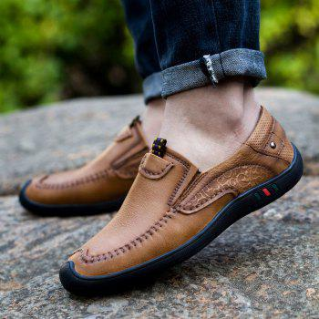 Leather Business Men Fashion Outdoor Casual Shoes Plush Lace Up Flats Men Oxford Sneakers - KHAKI 38
