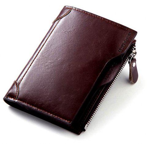 HAUTTON Genuine Leather Trifold Wallets for Men Credit Card Protector - DEEP BROWN 9X1X12 CM