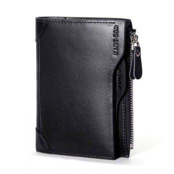 HAUT TON Genuine Leather Trifold Wallets for Men Credit Card Protector - BLACK BLACK
