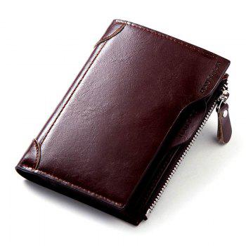 HAUT TON Genuine Leather Trifold Wallets for Men Credit Card Protector - DEEP BROWN DEEP BROWN